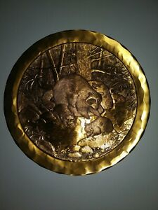 "Bronze Hammered Plate Raccoons Wendell August 1981 Animal Kingdom Series 9"""