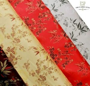 """Chinese Brocade Fabric Cherry Blossom Tropical Gold Embroidered Silk Satin 45"""""""