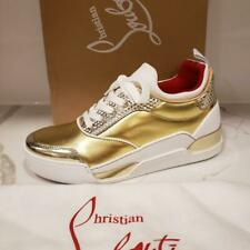 Christian Louboutin AURELIEN Donna Women Leather Sneaker Shoes Gold White $1095