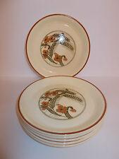 6 x Vintage Style Cream Ceramic Side Tea Cake Plates Floral Wheat Design Lovely