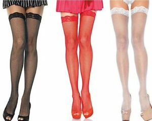 Thigh hi  - Leg Avenue Fishnet Thigh High Stockings With Lace Top One Size (7)