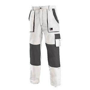 Work Trousers Painters Decorators Pants Combat Style Cotton White All Size LARGE