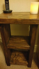 Hand Made Solid Wood Chunky Rustic Telephone/Side Table with shelf