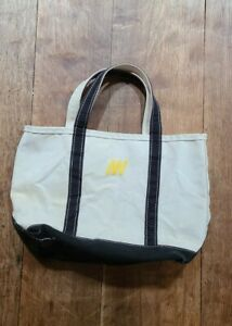 Vintage 90s LL BEAN Boat And Tote Canvas Tote Bag Large Black Handles USA
