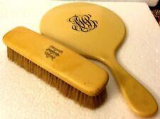 Vintage Bakelite/Celluloid Art Deco Mirror & Shoe Brush - Cream color