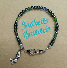 Handmade Medical Alert ID Replacement Bracelet/Green/Blue