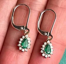 14k Yellow & White Gold Emerald and Diamond Halo Earrings. Leverback--LK90