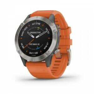 Garmin fenix 6 Sapphire GPS Watch Titanium with Ember Orange Band 010-02158-13