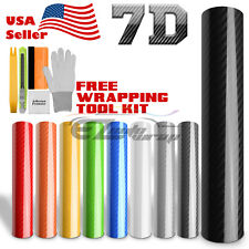 *7D Premium High Gloss Carbon Fiber Vinyl Wrap Bubble Free Air Release Decal 6D