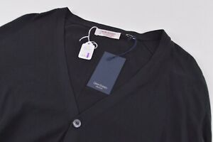 Gran Sasso NWT Sweater Size 42 US Large Black Cotton Cardigan $235