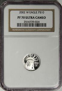 2002 W PROOF PLATINUM EAGLE $10 TENTH OZ. ~ NICE 1/10th NGC PF 70 ULTRA CAMEO