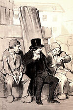 Honore Daumier 1950 LAWYERS Talking to PRISONERS Lithograph LEGAL LAW Art Matted
