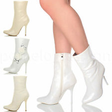 WOMENS LADIES HIGH HEEL FLOWER GEM WEDDING POINTED ANKLE BOOTS BOOTIES SIZE