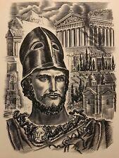 Périclès homme d'État athénien Grèce gravure 1967 d' Albert DECARIS  1901-1988