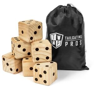 Tailgating Pros Giant Dice Set - 6 Oversized Wooden Playing Dice