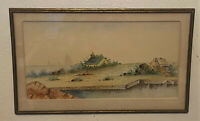 Antique Original Signed Watercolor Painting- D.A. Fisher, 1898 -Seascape,Boats