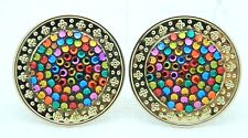 VTG BELLINI by FORMART Gold Tone Multi-Color Crystal Rhinestone Disc Earrings