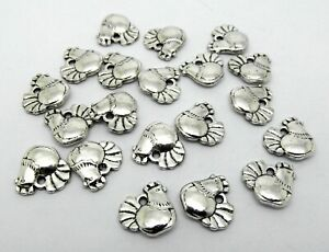 20 Hen Charms - Antique Silver Tone - 13mm - Chicken Easter Hen Parties P00212E