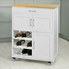SoBuy® Kitchen Serving Trolley Cart Wood Cabinet Water Wine Rack,FKW45-WN, UK