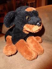 "Dog Rottweiler or Doberman Puppy 2004 Kid Preferred 6"" black brown stuffed plush"