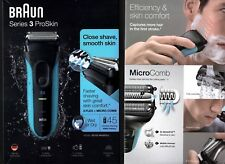 BRAUN SERIES 3 PROSKIN WET OR DRY Electric Shaver Blue 3010S BRAND NEW