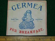 1870s-80s Germea for Breakfast Victorian Label Or Trade Card Girl Cereal L14