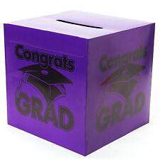 Congrats Grad Burple Card Box Graduation Decoration