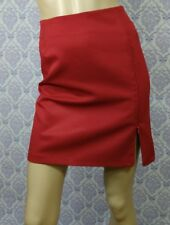 VTG 80s Red Mini Skirt Size 11 Straight Zip Detail La Belle Fashions Made In USA