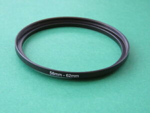 58mm-62mm Stepping Step Up Male-Female Lens Filter Ring Adapter 58mm-62mm