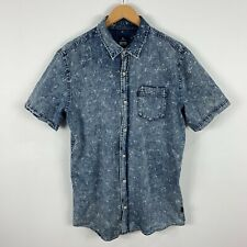 RipCurl Mens Button Up Shirt Large Blue Chambray Floral Short Sleeve Collared
