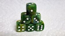 DICE - CHESSEX 12mm PHANTOM GREEN with WHITE PIPS - LOVELY, SMALLER SIZE!