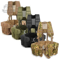 BRITISH ARMY PLCE STYLE PARA AIRBORNE WEBBING FIXED POUCH MILITARY BELT KIT