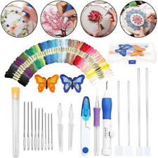Magic DIY Embroidery Pen Knitting Sewing Tool Kit Punch Needle Set 50 Threads US