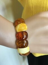 Natural Genuine Baltic Amber multi color adult bracelet  22.7 grams