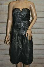 NWT METAPHOR  14 L XL BLACK METALLIC SILVER SNAKESKIN BODYCON SEXY DRESS  $90