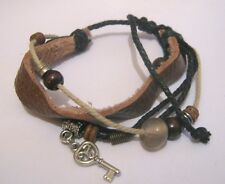 Lovely friendship gypsy style bracelet material faux leather brown black