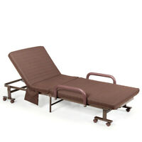 Folding Bed Portable Sleeper Bed for Camping Office Wheeled W/ Carry Bag Brown