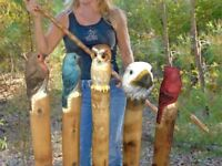 New Eagle Cardinal Bluebird Owl Bear Walking Stick Cane Staff Wood Hand Carved