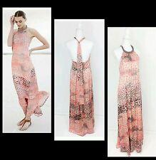 $178 JESSICA SIMPSON Pink Embellish Neck Satin Halter Printed Maxi Dress~S M3020
