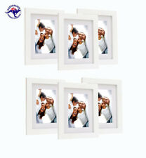 "Set of 6 White Picture Petite Frames 8""x10""  - With Mat for 5""x7"" photos"