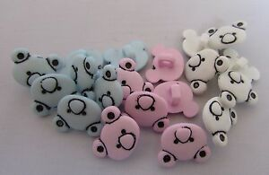 14mm x 11mm Teddy Bear Head Shape Buttons  Pink, Blue or White in Pks of 5 10 20
