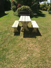 garden table and benches bespoke handmade solid wood