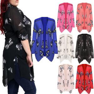 Ladies Plus Size Floral Zip Chiffon Butterfly Print Sheer Long Sleeve Cardigan