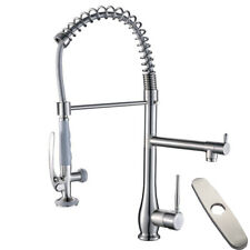 Brushed Nickel Commercial Single Handle Pull Down Kitchen Sink Faucet Lock Spray