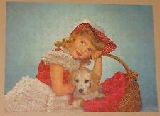 "VTG PERFECT PICTURE JIGSAW PUZZLE ""CHARMING MISTRESS"" GIRL & PUPPY CHILD DOG CIB"