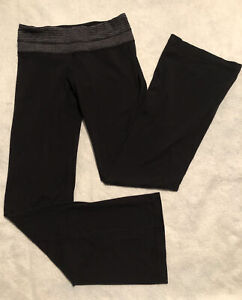 Lululemon 6 Groove Black pant Heathered Coal Check waistband Reversible Mid Rise