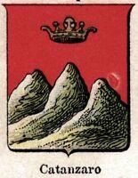Catanzaro: Piccolo Stemma del 1901. Cromolitografia.Stampa Antica + Passepartout