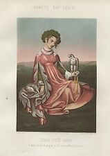 CHROMOLITHOGRAPHIE JEUNE FILLE NOBLE  XIVe SIECLE  THURWANGER LITHOGRAPHE 1858