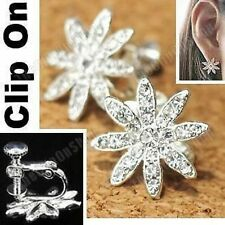 Clip on Screw Crystal Rhinestone Big Flower Earrings Silver Plated Non-pierce