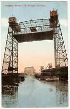1916 Halsted Street LIFT BRIDGE Chicago Illinois BOAT SHIP River Traffic PHOTO